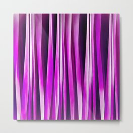 Plum Purple and and Burgundy Stripy Lines Pattern Metal Print
