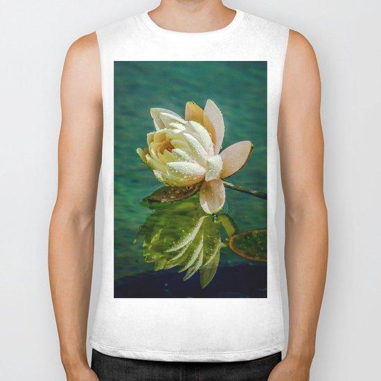 Water Lily after rain Biker Tank