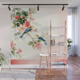 VINTAGE LOVE BIRDS | blush pink white Wall Mural