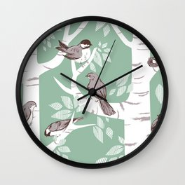Birch Birds Wall Clock