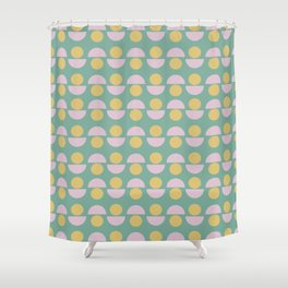 Scandinavian Geometric Pattern in Green, Lavender and Yellow Shower Curtain