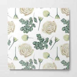 Flower Shop Ivory Cream Roses Pattern Metal Print
