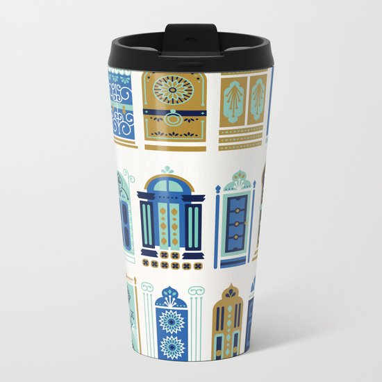 Moroccan Doors – Blue & Gold Palette Metal Travel Mug