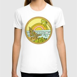 drifting to paradise surf art by surfy birdy T-shirt