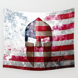 Molon Labe - Spartan Helmet Across An American Flag On Distressed Metal Sheet Wall Tapestry