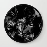 noir Wall Clocks featuring Noir by Raluca Ag