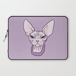Lilac Point Seal Grumply Wrinkly Sphynx Kitty - Hairless Cat Illustration - Bad Cattitude - Line Tattoo Art Laptop Sleeve
