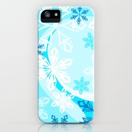 Blue Flower Art Winter Holiday iPhone Case