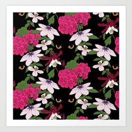 Cat in the flowers Art Print