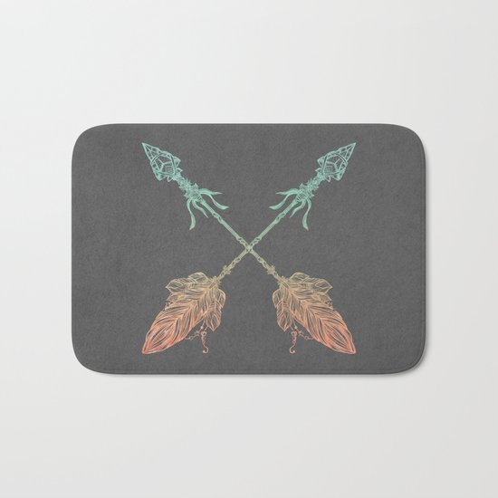 Tribal Arrows Turquoise Coral Gradient on Gray Bath Mat