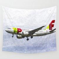 portugal Wall Tapestries featuring Air Portugal Airbus A319 Art by David Pyatt