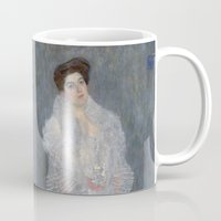 gustav klimt Mugs featuring Portrait of Hermine Gallia by Gustav Klimt by Palazzo Art Gallery