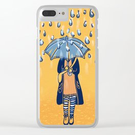 Rainy day girl Clear iPhone Case