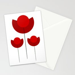 Simple red Tulips Stationery Cards