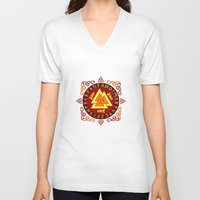 nordic V-neck T-shirts featuring Nordic Valknut by Spiro Vasilevski