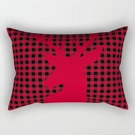 Red Plaid Deer Stag Design Rectangular Pillow