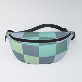 Abstract green squares geometry Fanny Pack