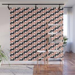 Geometric Pattern 184 (pink black knots) Wall Mural