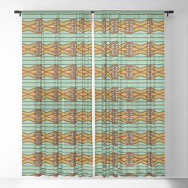 Vintage Art Deco Stained Glass Motif Pattern Sheer Curtain