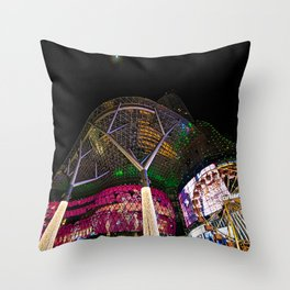 Christmas Glimmering Shopping Mall With Moon Throw Pillow