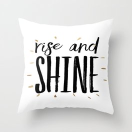 RISE AND SHINE, Inspirational Quote,Motivational Print,Digital Wall Art,Bedroom Decor Throw Pillow