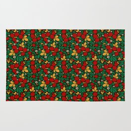 Strawberry pattern in traditional russian style hohloma khohloma Rug