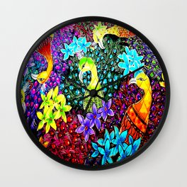 Colored Jungle Birds Wall Clock