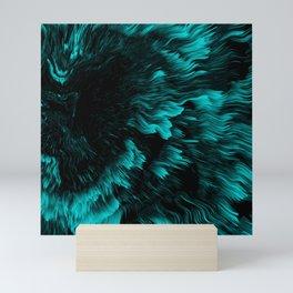 Trippy Cyan Abstract Liquid Pattern Mini Art Print