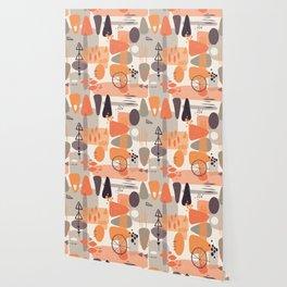 Mid Century Shapes Pattern Orange Wallpaper