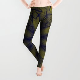 Blue and gold floral Leggings