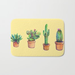 Cactus on Yellow Bath Mat