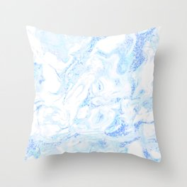 White Marble with Pastel Blue Purple Teal Glitter Throw Pillow