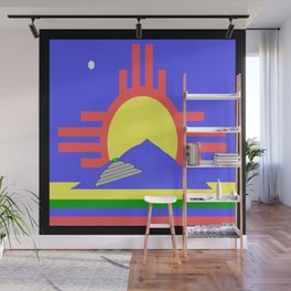 flag of Roswell with flying saucer Wall Mural