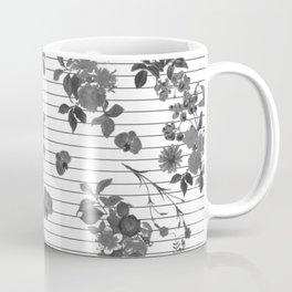 Black and White Floral on Stripes Coffee Mug