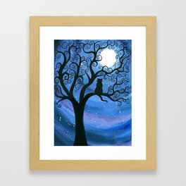 Meowing at the moon - moonlight cat painting Framed Art Print