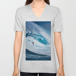 Wave and Surfer Unisex V-Neck