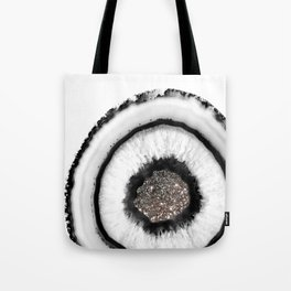 White Agate with Silver Glitter Glam #1 #gem #decor #art #society6 Tote Bag