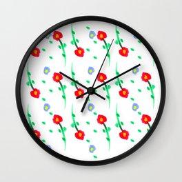Doodle: flowers pattern Wall Clock
