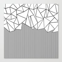 Ab Lines White Canvas Print