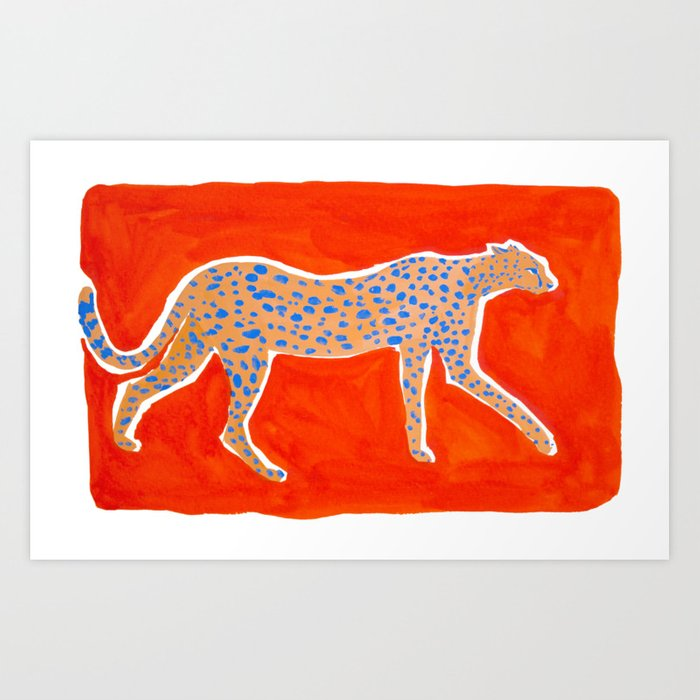 Leopard - Orange Art Print
