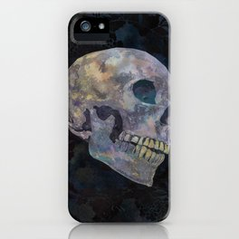 Gothic Skull Art Print | Halloween Home Décor Watercolor Skull Illustration - Midnight Navy Charcoal iPhone Case