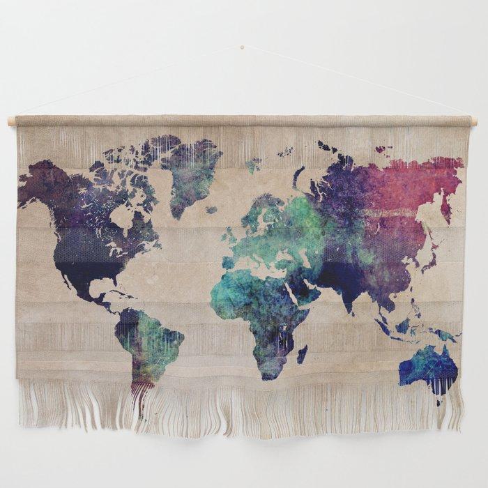 World Map Wall Hanging Cold World Map #map #worldmap Wall Hanging by jbjart | Society6
