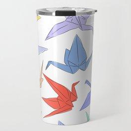 Japanese Origami paper cranes symbol of happiness, luck and longevity Travel Mug