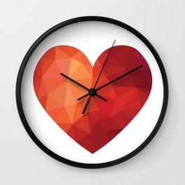 Low poly red heart Wall Clock