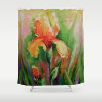 iris Shower Curtains featuring Iris by OLHADARCHUK
