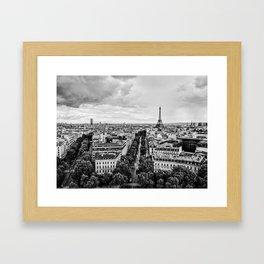 Black & White Paris Skyline Framed Art Print