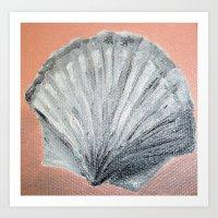 seashell Art Prints featuring Seashell by Lark Nouveau Studio