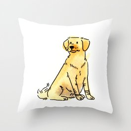 Latte - Dog Watercolour Throw Pillow