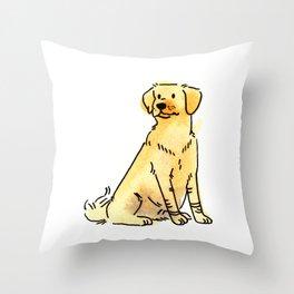 Latte - Dog Watercolour Throw Pillow