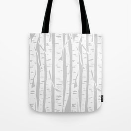 Woodcut Birches Grey Tote Bag